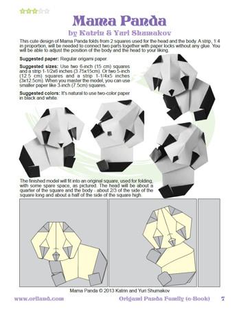 Panda Origami Instructions 3d | Origami, Origami animals, Diy origami | 450x348